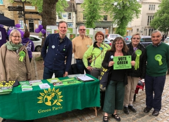 Volunteers at the West Oxon Green Party Stall in Witney, Rae Cather, Andrew Prosser, Barry Wheatley, Liz Reason, Elise Benjamin, Sandra Simpson and Steve Mohammed